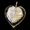 Glass Lamp Pendant Heart 13mm Jonquille/Silver